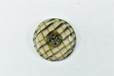 "Antique LARGE CELLULOID PLAID BUTTON 1 1/8"" BEIGE BROWN/RUST BLACK OLD #06783"