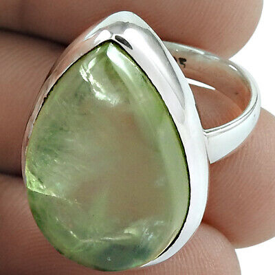 Natural Prehnite Ring Size 7 925 Solid Sterling Silver Handmade Jewelry Jn958 Fine Rings