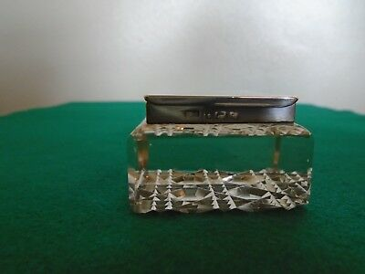 Antique Solid Silver and Cut Glass Stamp Box/Paperweight Levi & Salaman 1903.