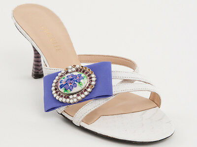 663991f9ca6b New Vivien Lee White Leather With Brooch Made in Italy Shoes Size 37.5 US  7.5