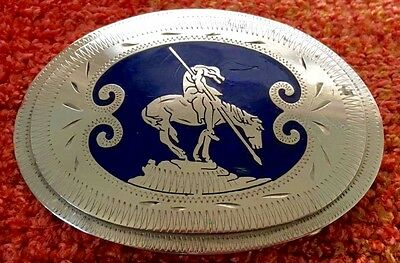 Vtg Handcrafted *End Of The Trail* Johnson Held Silver & Blue Inlay Belt Buckle