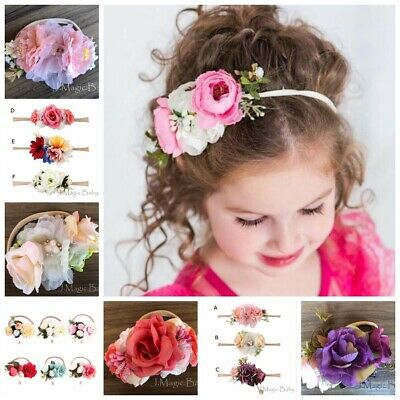 Baby Girl Flower Hair Garland Crown Nylon Headband Floral Wreath Hairband AU