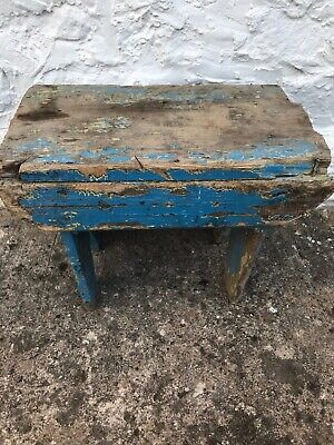 Vintage antique 4 legged farmhouse milking stool childs Garden Rustic Worn