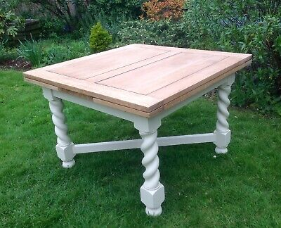 Beautiful Solid Oak Barley Twist Dining Table Painted Annie Sloan Shabby Chic