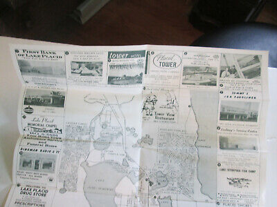 Vintage 1950s Auto Travel Fold Out Map of Lake Placid FL w Advertising 3637