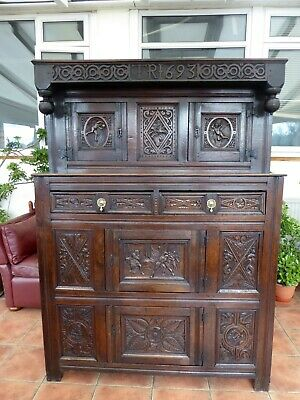 Country Oak Welsh Court Cupboard 1693  Free Shipping To England