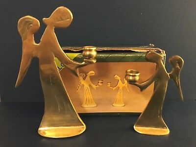 Pair of Solid Brass Mini Angel Candle Sticks Holders Made in Korea New In Box