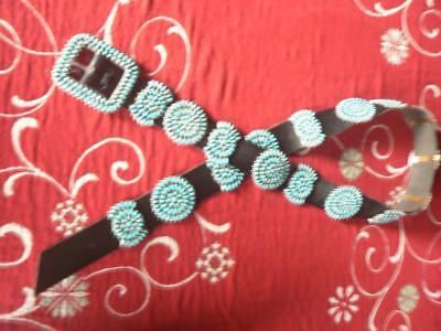 Native American Conch Belt - Sterling and Turquoise - Hallmarked - (CB110)