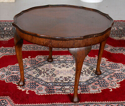 Antique Oak Circular Coffee Table or Side Table Carved Marquetry