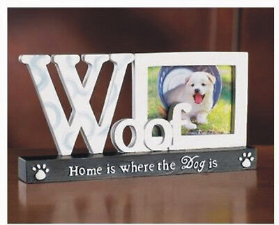 "Dog Photo Frame Puppy Picture 8""W x 4""H Polyresin Paw Print Woof"