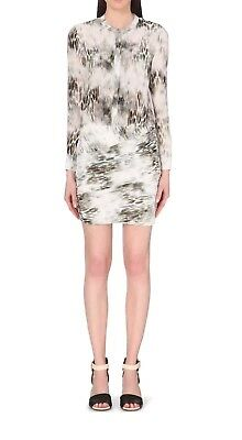 cece2bfffebcb MAJE RIVIERE SILK Leopard Print Fitted Ruched Shirt Dress Size 2 ...