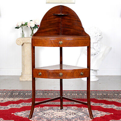 Antique George IV Corner Wash Stand Fitted Drawers Mahogany