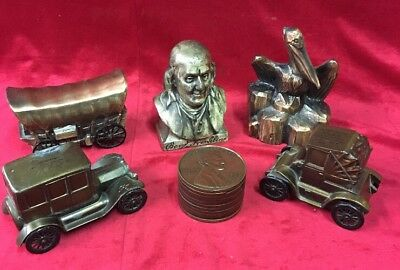 Vintage Lot 6 Metal Coin Bank Ben Franklin Car Penny Pelican Covered Wagon