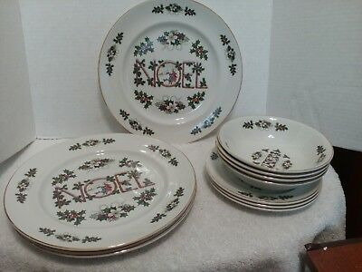 Wood & Sons, Noel, 4 Dinner Plates 3 Salad Plates & 4 Soup/Cereal Bowls