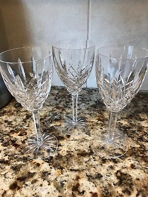 """Waterford Beautiful Crystal Lismore Wine Glass Goblets, 7 3/4"""" Tall, Set of 3"""