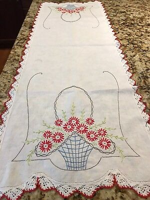 Vintage Linen Table Runner 15x43 Red Floral Embroidery w/ White & Red Crochet