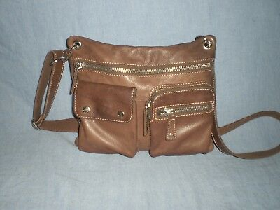 Fossil Sutton Genuine Leather Small 7 Pocket Organizer Crossbody Bag Saddle