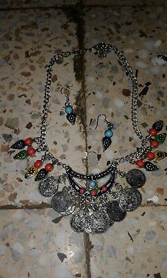 Islamic Jewelry-Ottoman Berber Algeria Kabyle Necklace  Errings Hand  !!!!!