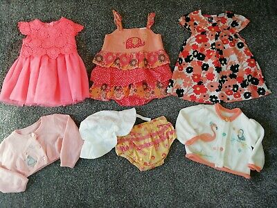 Baby Girls Summer Clothes Bundle Dress, Cardigans, Sun Hat Knickers 0-3 months