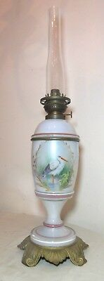 antique 1800's iridescent Kosmos hand painted stork glass brass parlor oil lamp
