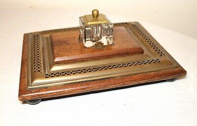 antique 19th century ornate English brass wood glass inkwell pen writing stand