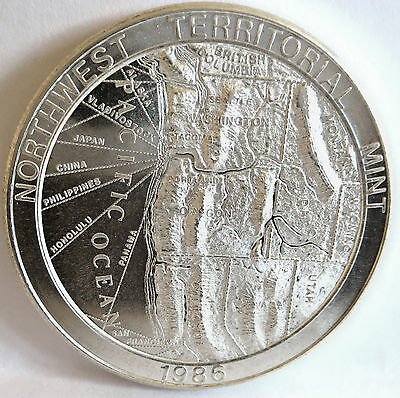 1986 Trade Unit Map Topographic Northwest .999 Fine Silver High Relief 1 Troy Oz