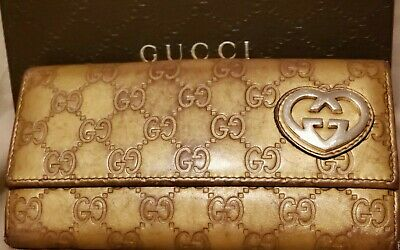 "6a95d32cb65 Gucci  245723 Gold Guccissima ""Lovely"" Bi-Fold Wallet  165.00 Includes  Shipping"