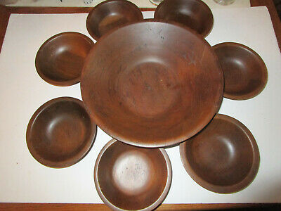 Real Walnut Wooden Butcher Block, Salad Bowls Set of 8,  Quality Vintage