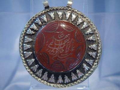 Middle Eastern Silver And Carved Cornelian Pendant (Pp150)