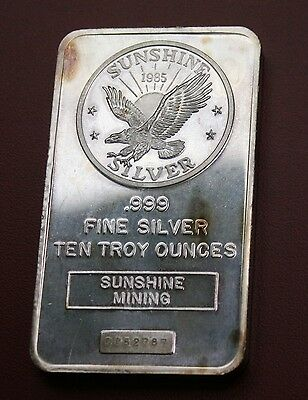 1985 Sunshine Mint 10 oz Silver Bar Serialized (.999 Pure)  RARE  Final Price