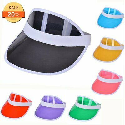 Summer Hat Sun Visor Party Casual Hat PVC Clear Plastic Adult Sunscreen Cap
