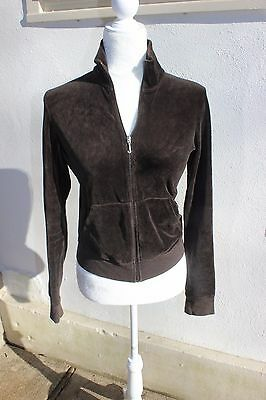 Women's Juicy Couture Chocolate Brown RICH Velour  Full Zip Up Jacket Size S