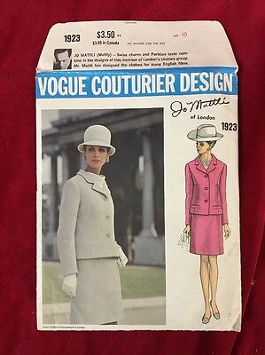 Vintage 60s Vogue Couturier Design Jo Mattli Sewing Pattern 1923 Size 10