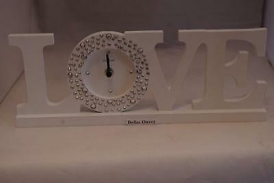 "Shabby & Chic ""Love"" Delmonte Mantle Clock Bedroom Desk White Clock"