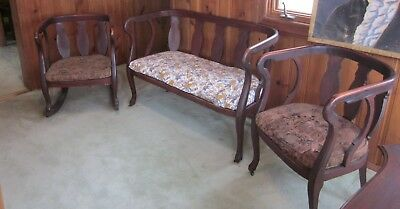 Antique Vintage Palor or Porch Furniture 3 Piece Set Love Seat Rocker Castor