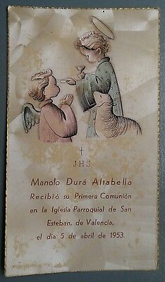 Estampa religiosa antigua RECUERDO COMUNION AÑO 1953  holy card