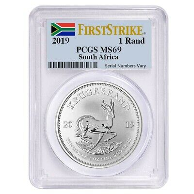 2019 South Africa 1 oz Silver Krugerrand PCGS MS 69 First Strike