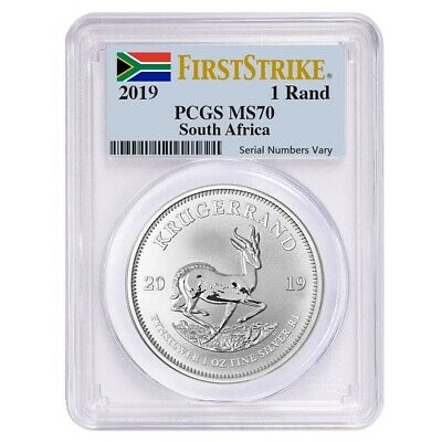 2019 South Africa 1 oz Silver Krugerrand PCGS MS 70 First Strike