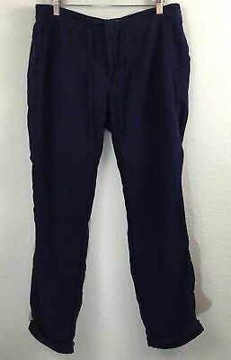 Joie Martesha Pants 100% Linen Dark Navy Blue Midrise Drawstring Cuffed Size 10