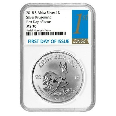 2018 South Africa 1 oz Silver Krugerrand NGC MS 70 FDOI