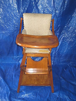 Antique Highchair Hi Chair Convertible To a Play Table