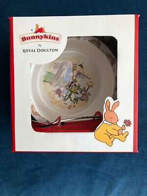 "New Box Bunnykins Royal Doulton Nursery Set Spoon Bowl ""Spring Cleaning"" RETIRED"