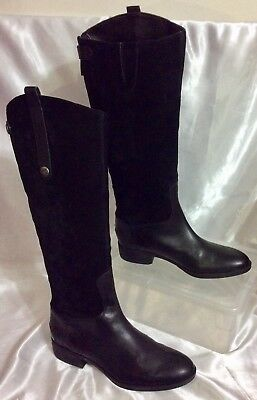 b6b184b156d9 Sam Edelman PEMBROOKE Black Suede Leather High Knee Riding Boots Women s 7M