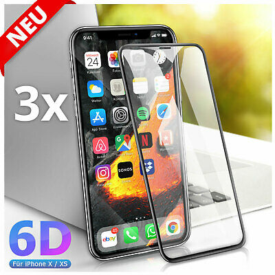 2x für iPhone X iPhone XS Full Screen Panzer Schutz Glas Folie 6D 9H Hartglas