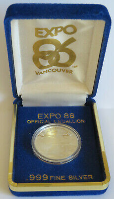 1986 World Expo Vancouver Canada 16.5 Grams .999 Fine Silver Capsule Display Box