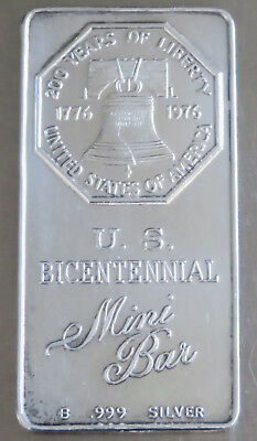 "Mini Art Bar Bicentennial1976 ""mini Ingot"" 9.5 Gms .999 Silver,kidd 5Th Mini-17"