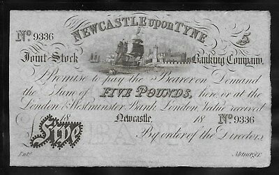 Great Britain 1838 Newcastle Banking Company on Tyne 5 Pound Note