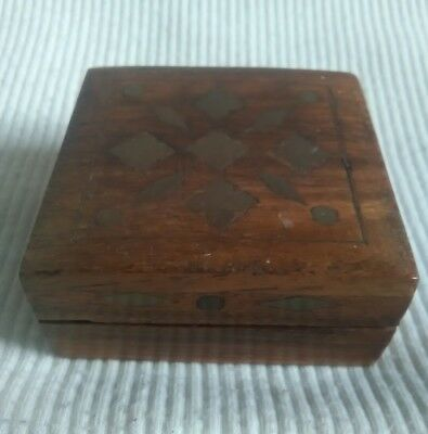 Square Wooden And Brass Inlaid Trinket Box