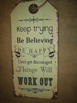 Green Wooden Keep Trying Wall Art Inspirational Hanging Plaque Shabby Chic