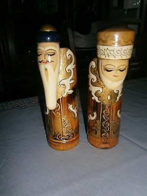 """Pair Folk Art  Candle Holders Hand Painted Wood Monks Chinese ? 6"""" tall 1 3/4"""""""